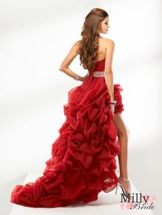 Strapless sweep train lace-up back beading red black prom dresses 2012 PDM4013