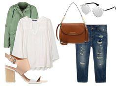 Toller Plussize-Look zum Nachstylen. Gerade die Kombi von weißer Bluse mit dunklem Parka sieht spitze aus!
