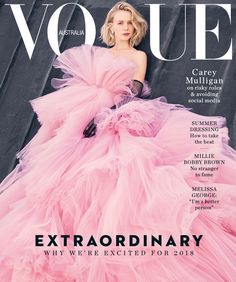 Carey Mulligan covers the January 2018 issue of Vogue Australia, styled in couture looks by Christine Centenera. Emma Summerton is behind the lens, flashing the froth in 'Carey'./ Hair by Serge Normant; makeup by Dick Page Vogue Magazine Covers, Fashion Magazine Cover, Fashion Cover, Look Fashion, Fashion Beauty, High Fashion, Fashion Shoot, Fashion Design, Carey Mulligan