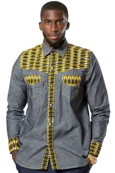 These shirts are the perfect combination of light denim fabric and African print fabric.- 2 pockets on the side- Personalized afrilege button press- Made of cotton Ankara fabricOur model wears a XL.*** Matching women clothes available in. African Shirts For Men, African Dresses Men, African Attire For Men, African Clothing For Men, Nigerian Men Fashion, African Print Fashion, Mens Fashion, Fashion Outfits, Fashion Styles
