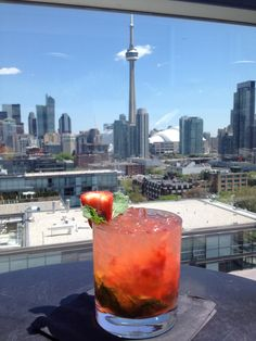 Obsessed with Toronto.and cocktails.and this view. Alcoholic Drinks, Cocktails, Roots, Toronto, Exotic, Strawberry, Canada, Spaces, Craft Cocktails