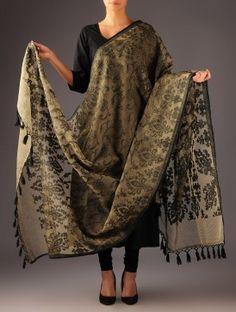 Black-Ecru Banarasi Tissue Dupatta Indian Attire, Indian Wear, Pakistani Outfits, Indian Outfits, Churidar Designs, Punjabi Dress, Indian Look, Indian Couture, Clothing Websites