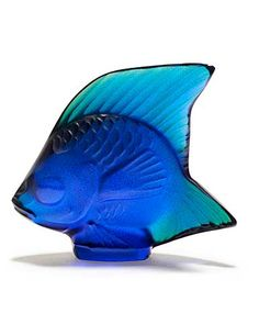 Lalique Fish Seal, Cap Ferrat Blue Luster