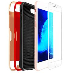 Swiss-QA iPhone 8 Plus Card Case, 2 Interchangeable Covers with Card Slot (Red & Rosegold) & White Screen Protector All Around Protection, Best Bumper Guard Protection for Accidental Drops Iphone 8 Plus, Iphone 7, Iphone Cases, Screen Protector, Card Case, Amazon, Cover, Red, Amazons