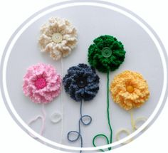 Flowers - Crochet Applique -  Crochet Brooch - Rushe Petal Multicolored Flowers  - Any Colour - Made to Order