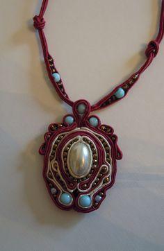 """Soutache necklace with a medium size pendant. Pendant size 2""""3/8 x 2.0"""" (6,0 cm x 5,0 cm)."""