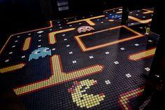 "Jessica Helgerson Interior Design Selected Projects Ground Kontrol Arcade | http://www.jhinteriordesign.com/ground-kontrol/ | ""Women's restroom with Ms. Pac-man floor tile"""