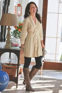 shirts to wear with leggings | ... great job pairing this shirt-dress with a pair of leggings and boots