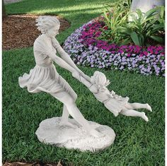 """Summer's Joy Garden Sculpture - 44""""Wx18""""Dx40""""H. 55 lbs.  Toscano-exclusive work crafted from 55 lbs. of quality, two-toned designer resin with a faux stone finish. With pigtails flying, our mother-daughter duo are a memory frozen in time that's the perfect centerpiece for a summer garden or indoor gallery.   http://www.designtoscano.com/product/garden+statues/sale+garden+statues/summer%26rsquo-s+joy+garden+sculpture+-+ky571101.do?sortby=bestSellers"""