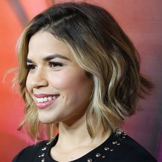 Blunt Bob - A blunt bob works whether your hair is wavy or straight—and America Ferrera's recent blond color makes it gorgeous & edgy!