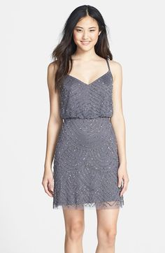 It comes in short- and it's grey! Do we like this?  Adrianna Papell Sequin Mesh Blouson Dress available at #Nordstrom