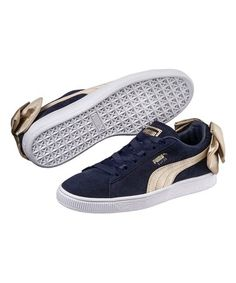 b4cd669595202 Another great find on #zulily! Peacoat & Metallic Gold Suede Bow Varsity  Sneaker -