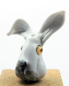 Lampwork glass rabbit hare head focal bead from by IzzyBeads, £10.00