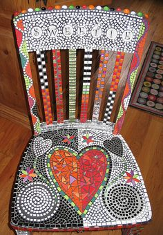 Sweetie Chair  Mosa ceramic tile, glass, mirror, Delorian Grey grout and charcol grout.
