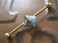 Turquoise Stone Cabochon Industrial Piercing Barbell Bar Earring Jewelry Kite Square Geometric Setting 14g 14 G Gauge. $15.00, via Etsy.