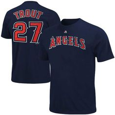 bdddf50e Los Angeles Angels Mike Trout Majestic Official Name and Number T-Shirt -  Navy Angels