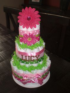 baby girl shower diaper cakes | Pink and Green Girl Diaper Cake Baby Shower Centerpieces Gift other ...