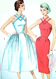 1950s BOMBSHELL Strappy Cocktail Party Evening Dress Pattern Simplicity 2106 Slim or Full Skirt Figure Flattering Design Bust 31 Vintage Sewing Pattern UNCUT