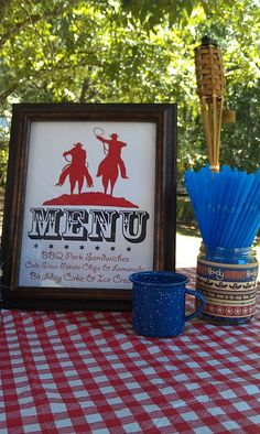 Cowboy theme - use blue dishes to eat off of