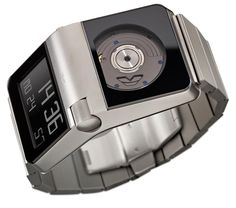 Ventura Design - Ventura invented the Automatic Digital Watch in The movements of the wrist activate a rotary mass which relays the momentum to a micro-generator; the electric energy gained in the process continuously feeds an optoelectronic time-module. Sport Watches, Cool Watches, Watches For Men, Unique Watches, Dream Watches, Casual Watches, Vintage Watches, Aftershave, Swiss Army Watches