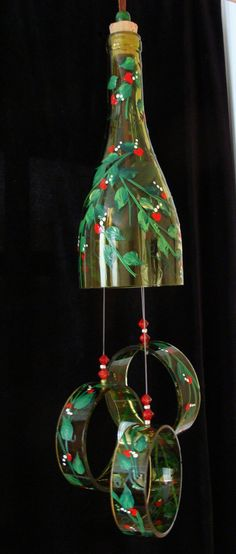 Wind Chime, Love Grows, made from recycled wine bottle -  transformed into a Wine-Chime!