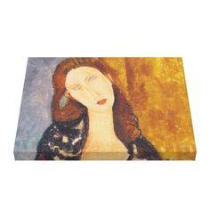Jeanne Hebuterne portrait by Amedeo Modigliani Canvas Print - portrait gifts cyo diy personalize custom