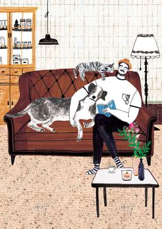 Hmmmm, Illustrations that make me want to get cosy & cuddly.. The work of South-Korean artist Kim Hyerim, posted on the blog! http://www.artisticmoods.com/kim-hyerim/