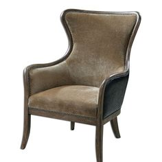 """Solid Wood Construction With Reinforced Joinery And Hand Rubbed, Weathered Pine Exposed Frame. Plush, Caramel Tan Velvet Is Accented By Solid Brass Nails And Surrounded In Deep Chocolate Faux Leather. Seat Height Is 18""""."""