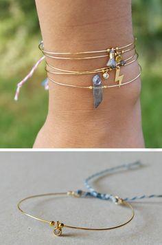 Wire bracelet with mini cz round friendship bracelet brass adjustable - AME  21.00 EUR #goriani