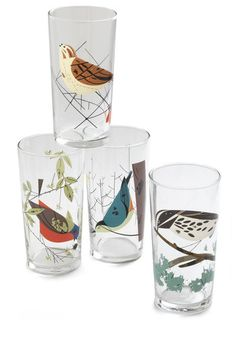 Charley Harper artwork on glasses. What a delight! @Nora B, too.