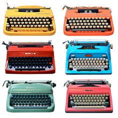If you can't find me an ugly one, I'll settle for one of these. Colourful typewriters — UPPERCASE