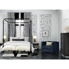 """<span class=""""copyHeader"""">now you see it. now you don't.</span> Black on black design hangs dramatic. Rich black linen/cotton fabric backgrounds a same color printed overlay creating a peek-a-boo pattern effect in direct sunlight. Modern neutral plays well with any palette and provides lightweight privacy.<br /><br />Pick up tips for decorating with black and white on <a rel=""""external""""href=""""http://cb2.com/blog/black-and-white-decor/"""">Idea Central</a>.<br /><br /><NEWTAG/><ul><li>Cotton/linen…"""