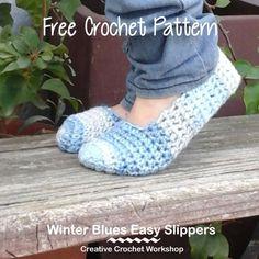 Winter Blues Easy Slippers - Free Crochet Pattern | Creative Crochet Workshop @creativecrochetworkshop #BeatTheHeatCold2017
