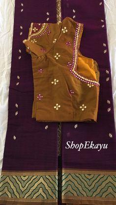 Indian/Pakistani Ethnic Ready To Wear Gadwal Saree with mirror work blouse Sari Blouse Designs, Designer Blouse Patterns, Bridal Blouse Designs, Kurta Designs, Mirror Work Blouse Design, Maggam Work Designs, Saree Blouse, Saree Dress, Kutch Work