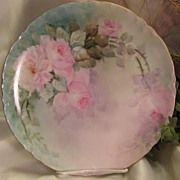 """SOLD """"PINK TEA ROSES PERFECTION"""" Gorgeous Antique Limoges France Hand Painted Decora"""