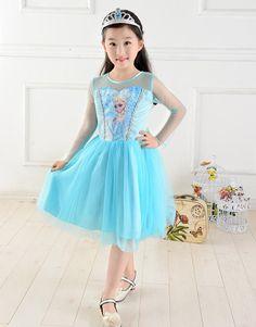 envío gratis 2014 caliente venta nuevo estilo niñas congelado vestido de elsa anna hermoso vestido de moda en de en Aliexpress.com