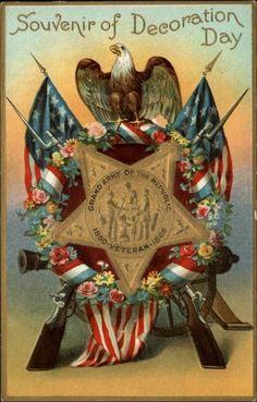 Souvenir of Decoration Day - GAR Star c1910 Embossed Postcard
