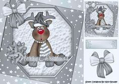 Lovely Reindeer with silver bow and stars 8x8 on Craftsuprint - Add To Basket!