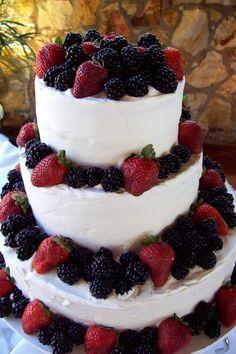 Strawberry and Blackberry Wedding Cake