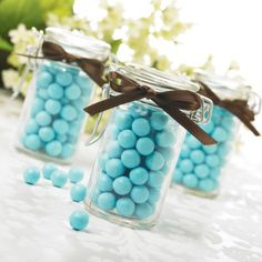 simple ribbon napkin rings tiffany blue | We are also quite fond of the personalized votives in the same colors.