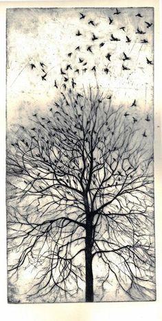 "theuniversemocksme: "" Trees (etching) by Philippa Jones """
