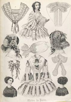 "Fashion illustration, ""Modes de Paris"", Stockholms mode-journal 1855 | In the Swan's Shadow"