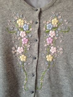 vintage grey floral embroidered cardigan by shopwhen on Etsy Embroidery On Clothes, Wool Embroidery, Embroidered Clothes, Silk Ribbon Embroidery, Hand Embroidery Designs, Embroidery Dress, Embroidery Stitches, Embroidery Patterns, Broderie Simple