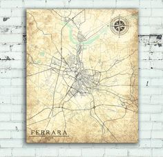 FERRARA Italy Vintage map Ferrara City Italy Vintage map Ferrara Italy Wall Art work Print poster retro old Italy Ferrara antique map Europe