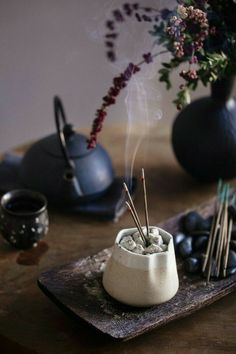 Incense burning on table by Gable Denims on Meditation Space, Witch Aesthetic, Incense Holder, Arte Floral, Tea Ceremony, Food Photography, Incense Photography, Wabi Sabi, Fabric Crafts