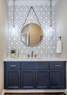 7 Stylish Patterns for a Powder Room Makeover Half Bathroom Decor, Guest Bathrooms, Bath Decor, Bathroom Interior, Bathroom Ideas, Blue Bathroom Tiles, Concrete Bathroom, White Bathrooms, Shower Tiles