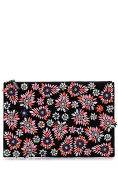 """Oversized clutch with gorgeous multicolor beaded detail. Top zip closure. Inside zip pocket.    Measures approximately 13 1/2""""w X 9 1/4""""h.   Beaded Clutch by Like Dreams. Bags - Clutches - Casual New Orleans, Louisiana"""
