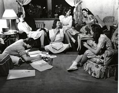 1950s Students Studying  Students gather to study in the dorms, 1950s.