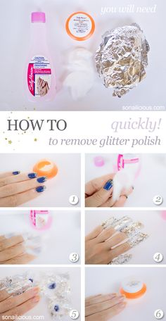 How to remove glitter polish quickly!  click through to read step-by-step instructions #nails #tutorial #diy