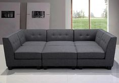 Sectional Contemporary Grey Linen Fabric Chic Comfort Black Legs Welted Tufted Back Modular Sectional Sofa Set >>> Learn more by visiting the image link. (This is an affiliate link) Oversized Couch, Oversized Furniture, Dining Room Decor Elegant, Dining Room Table Decor, Modular Sectional Sofa, Living Room Sectional, Grey Sectional, Fabric Sectional, Modern Sectional